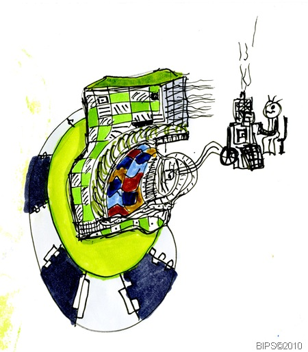 Personal Green Machine - Ink and Marker Pens on Layout Paper - IB 09-1-10